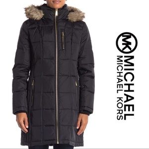 NWT🌺Michael Kors Faux Fur Hooded Puffer Coat